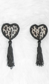 Leopard print heart shaped pasties with embroidered edges and tassel detail. Self adhesive. Pair.