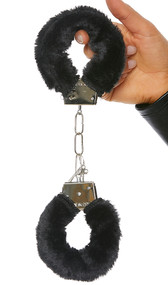 Functional metal handcuffs with faux fur trim detail. Two metal keys are included.