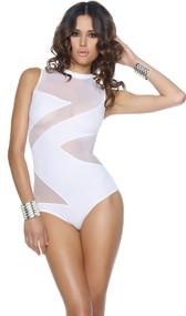 Crystal Cove Monokini features a mesh contrast zig zag design, high collar, and zipper back closure.