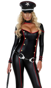 Ms. Militant costume includes long sleeve cut out catsuit with faux gold buttons and contrast red trim. Catsuit only.