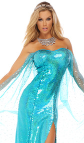 Ice Princess costume includes strapless opulent sequin gown with thigh slit and sheer star shimmer overlay. Dress only.