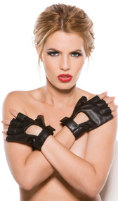 Faux leather fingerless wrist length gloves with Velcro closure.