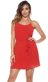 Chiffon camisole dress with racerback straps and adjustable string tie waist.