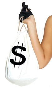 All About the Money Handbag is a woven bag with dollar sign applique and drawstring rope closure.