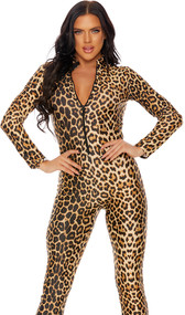 Leopard print long sleeve catsuit with mock neck and zipper front closure.