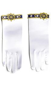 Satin wrist length gloves with nautical theme applique.