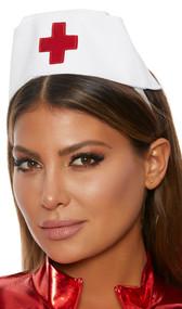Nurse hat with adjustable elastic band and metallic cross.