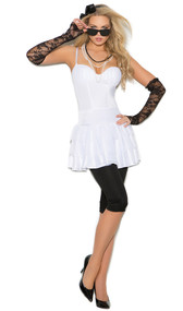 Rock Star costume includes dress, leggings, lace gloves, pearl necklace, hair piece and sunglasses. Six piece set.