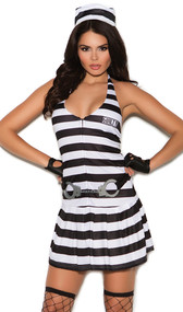 Convict Cutie costume includes striped halter dress with Guilty patch, plastic handcuff belt and hat.