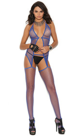 Fishnet suspender bodystocking with halter neck and o ring detail.