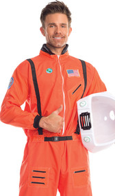 Admirable Astronaut costume includes space flight jumpsuit with zipper front, patches including USA flag patch and zipper pocket details. Plain back. One piece set.