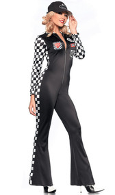 Sexy Racer costume includes long sleeve Lycra jumpsuit with zipper front, checkered sides and sleeves and racing patches. Hat also included. Two piece set.