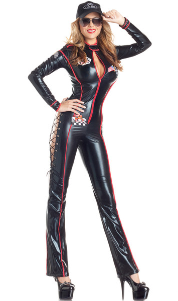 Formula Fun Racer costume includes long sleeve wet look jumpsuit with zipper front, lace up sides and racing patches. Hat also included. Two piece set.