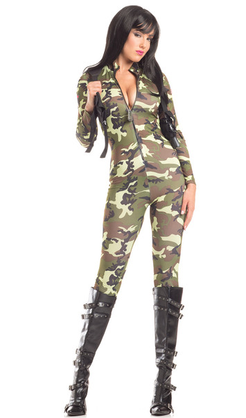 Tantalizing Trooper costume includes long sleeve zip front jumpsuit and shoulder holster. Two piece set.