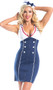 Chief of the Boat sailor costume includes sleeveless zip front dress with collar, faux buttons, lace up back detail, and attached cape. Hat with bow also included. Two piece set.