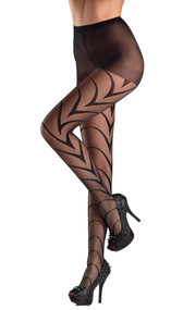 Sheer pantyhose with art deco lines.