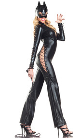 Two Faced Kitty costume includes long sleeve stretch lamé catsuit with zip front and lace up detail. Mask and cat ears included. Three piece set.