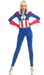 Captivating Captain costume includes long sleeve stretch jumpsuit with zipper front, waistband with lace up back, and gloves. Three piece set.