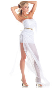 Lovely Aphrodite costume includes strapless wrap dress with ruching, and gold rope belt. Two piece set.