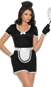 Flirty Maid costume includes short sleeve mini dress with V neckline, lace trim and satin bow. Also includes matching head piece, apron, and gloves. Four piece set.