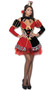 Queen of Hearts costume includes short sleeve dress with front heart shaped cut out, shoulder cut outs, heart detailing, bows, and lace up detail on back. Also includes high collar neck piece, arm guards and crown head piece. Four piece set.