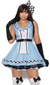 Storybook Alice costume includes sleeveless mini dress with checkered pattern detail and ruffle trim, apron, head piece bow and gloves. Four piece set.