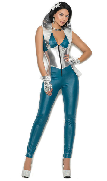 Galaxy Girl costume includes sleeveless zip front jumpsuit with high collar, star hair pins and gloves. Three piece set.