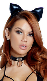 """Metallic covered cat ear headband with padded ears. Ears measure about 2-1/2"""" tall."""