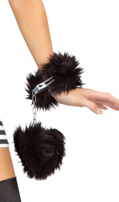 Functional plastic handcuffs with faux fur trim detail. Two plastic keys are included.