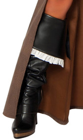 Black wet look boot toppers with tie back and white ruffle trim.