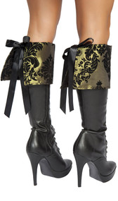 """Victorian pattern boot toppers with tie back. Pattern is a raised velvet type of material. Measure about 7-3/4"""" tall. Pair."""