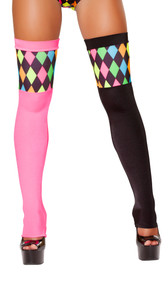 Thigh high jester stockings with colored diamond pattern and open foot.