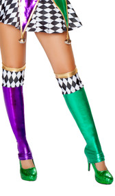 Metallic thigh high jester stockings with colored diamond pattern and open foot.