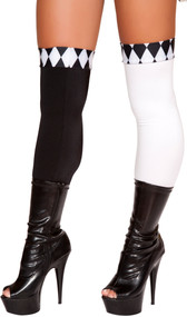 Thigh high jester stockings with diamond pattern top and open foot.