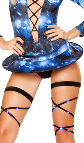 """Galaxy print wire skirt, pull up style. Underside is white. Measures about 13.5"""" x 20"""" in oval shape."""