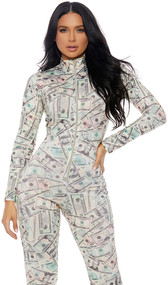 Long sleeve money print catsuit with mock neck and front zipper opening.