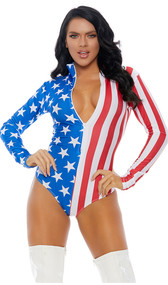 American flag print long sleeve bodysuit with mock neck and front zipper opening.