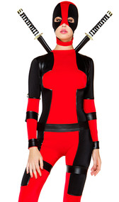 Rebellious costume includes long sleeve two-toned bodysuit, mask headpiece, and waist and thigh harness. Three piece set.