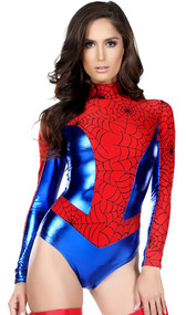 Sensible Seductress costume includes long sleeve metallic bodysuit with spiderweb print, mock neck and zipper back. One piece set.