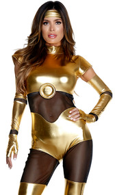 Like It's Golden costume includes short sleeve metallic jumpsuit featuring mesh insets and zip up back, fingerless long gloves, and headband. Three piece set.