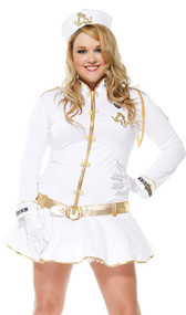 Cruiser Cutie costume includes long sleeve mini dress with zipper front, ruffle skirt, gold button detail and trim, nautical motif cuffs in blue and gold, anchor patches, a rope aiguillette, and a Mandarin collar. A traditional sailor's hat, white gloves, and a gold belt are also included. Four piece set.