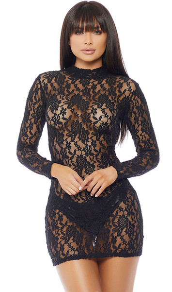 Mock neck long sleeve floral lace dress with backside zipper closure.