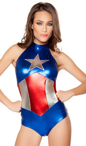 Enhanced American Hero costume includes sleeveless metallic romper with stars and stripes chest emblem. One piece set.