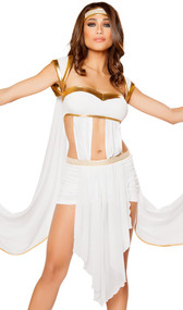 Queen of Olympus costume includes draped front dress with detachable arm drapes with gold wrist cuffs, and gold headband with embroidered detail. Two piece set.