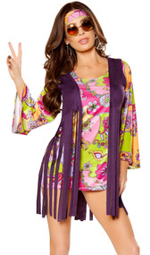 Groovy Hippie costume includes fringe vest, multicolor floral dress with bell sleeves, and headband. Three piece set.