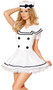 Sexy Sailor Maiden costume includes short sleeve dress with faux button detail and hat with bow. Two piece set.
