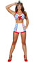 Playful Pinup Sailor costume includes striped halter top with bow detail and back closure, high waisted shorts, and captain's hat. Three piece set.