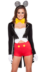 Mousy Maiden costume includes strapless top, shorts with oversized faux button detail, jacket with rhinestones and tails, bow tie, and mouse ear headband. Five piece set.
