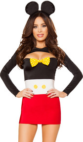 Playful Mouse costume includes sleeveless tube dress with polka dot bow and oversized buttons, long sleeve shrug, and plush mouse ear headband. Three piece set.