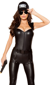 Tactical Commander costume includes zip front wet look bodysuit with padded shoulder pads and studded belt with attached faux leg holsters. Two piece set.